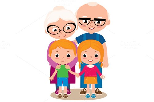 vector illustration of grandparents and their grandchildren f